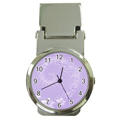 Light Violet Abstract Flowers Money Clip With Watch