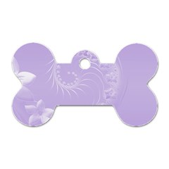 Light Violet Abstract Flowers Dog Tag Bone (one Sided) by BestCustomGiftsForYou