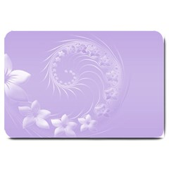Light Violet Abstract Flowers Large Door Mat by BestCustomGiftsForYou