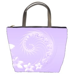 Light Violet Abstract Flowers Bucket Bag by BestCustomGiftsForYou