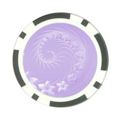 Light Violet Abstract Flowers Poker Chip 10 Pack by BestCustomGiftsForYou