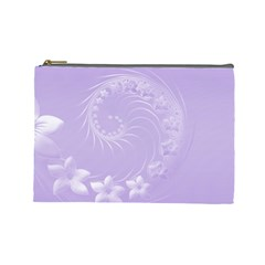 Light Violet Abstract Flowers Cosmetic Bag (large) by BestCustomGiftsForYou