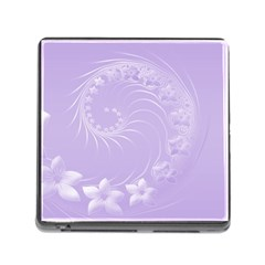 Light Violet Abstract Flowers Memory Card Reader With Storage (square) by BestCustomGiftsForYou