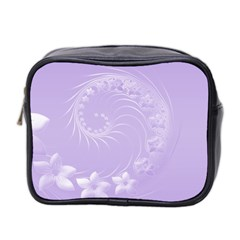 Light Violet Abstract Flowers Mini Travel Toiletry Bag (two Sides) by BestCustomGiftsForYou