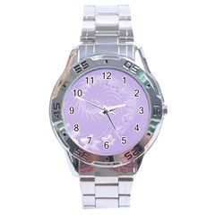 Light Violet Abstract Flowers Stainless Steel Watch (men s) by BestCustomGiftsForYou