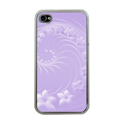 Light Violet Abstract Flowers Apple Iphone 4 Case (clear) by BestCustomGiftsForYou