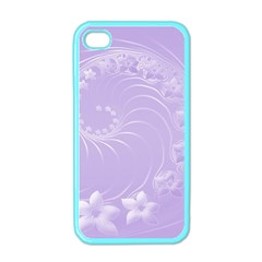 Light Violet Abstract Flowers Apple Iphone 4 Case (color) by BestCustomGiftsForYou