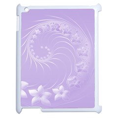 Light Violet Abstract Flowers Apple Ipad 2 Case (white) by BestCustomGiftsForYou