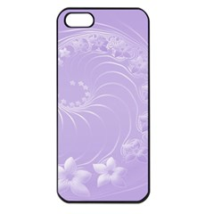 Light Violet Abstract Flowers Apple Iphone 5 Seamless Case (black) by BestCustomGiftsForYou