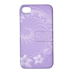 Light Violet Abstract Flowers Apple Iphone 4/4s Hardshell Case With Stand by BestCustomGiftsForYou