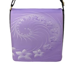 Light Violet Abstract Flowers Flap Closure Messenger Bag (large) by BestCustomGiftsForYou