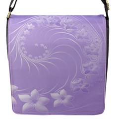 Light Violet Abstract Flowers Flap Closure Messenger Bag (small) by BestCustomGiftsForYou