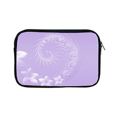 Light Violet Abstract Flowers Apple Ipad Mini Zipper Case by BestCustomGiftsForYou