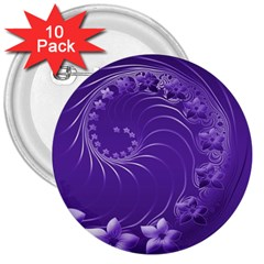 Violet Abstract Flowers 3  Button (10 Pack) by BestCustomGiftsForYou