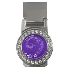 Violet Abstract Flowers Money Clip (cz) by BestCustomGiftsForYou