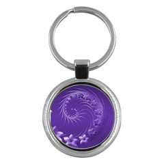 Violet Abstract Flowers Key Chain (Round) by BestCustomGiftsForYou