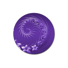 Violet Abstract Flowers Magnet 3  (round) by BestCustomGiftsForYou