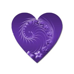 Violet Abstract Flowers Magnet (heart) by BestCustomGiftsForYou