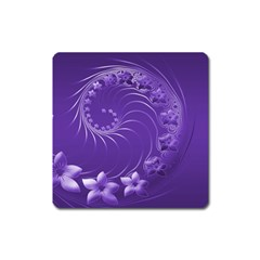 Violet Abstract Flowers Magnet (square) by BestCustomGiftsForYou