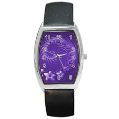 Violet Abstract Flowers Tonneau Leather Watch by BestCustomGiftsForYou