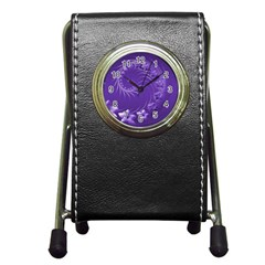 Violet Abstract Flowers Stationery Holder Clock by BestCustomGiftsForYou