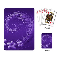 Violet Abstract Flowers Playing Cards Single Design by BestCustomGiftsForYou