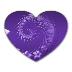 Violet Abstract Flowers Mouse Pad (heart) by BestCustomGiftsForYou