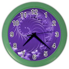 Violet Abstract Flowers Wall Clock (color) by BestCustomGiftsForYou