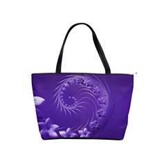 Violet Abstract Flowers Large Shoulder Bag