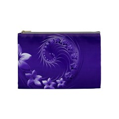 Violet Abstract Flowers Cosmetic Bag (medium) by BestCustomGiftsForYou