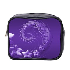 Violet Abstract Flowers Mini Travel Toiletry Bag (Two Sides)