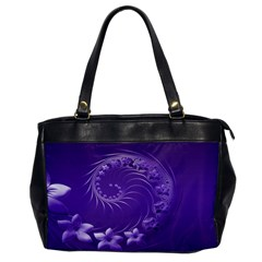 Violet Abstract Flowers Oversize Office Handbag (one Side) by BestCustomGiftsForYou