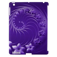 Violet Abstract Flowers Apple Ipad 3/4 Hardshell Case (compatible With Smart Cover) by BestCustomGiftsForYou