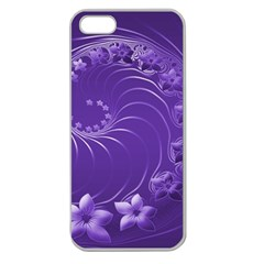 Violet Abstract Flowers Apple Seamless Iphone 5 Case (clear) by BestCustomGiftsForYou