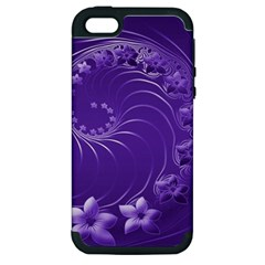 Violet Abstract Flowers Apple Iphone 5 Hardshell Case (pc+silicone) by BestCustomGiftsForYou