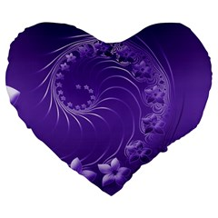 Violet Abstract Flowers 19  Premium Heart Shape Cushion by BestCustomGiftsForYou