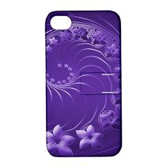 Violet Abstract Flowers Apple Iphone 4/4s Hardshell Case With Stand by BestCustomGiftsForYou