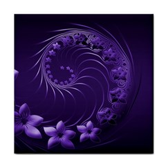Dark Violet Abstract Flowers Ceramic Tile by BestCustomGiftsForYou