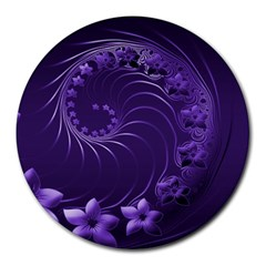Dark Violet Abstract Flowers 8  Mouse Pad (round) by BestCustomGiftsForYou