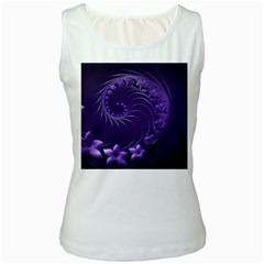 Dark Violet Abstract Flowers Womens  Tank Top (white) by BestCustomGiftsForYou
