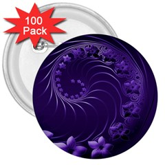 Dark Violet Abstract Flowers 3  Button (100 Pack) by BestCustomGiftsForYou