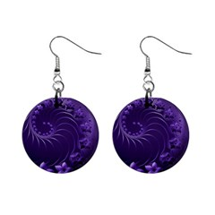 Dark Violet Abstract Flowers Mini Button Earrings by BestCustomGiftsForYou