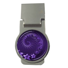 Dark Violet Abstract Flowers Money Clip (round) by BestCustomGiftsForYou