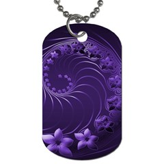 Dark Violet Abstract Flowers Dog Tag (two Sided)  by BestCustomGiftsForYou