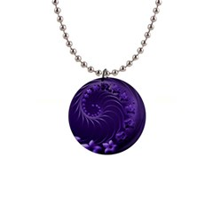 Dark Violet Abstract Flowers Button Necklace
