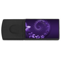 Dark Violet Abstract Flowers 4gb Usb Flash Drive (rectangle) by BestCustomGiftsForYou