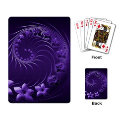 Dark Violet Abstract Flowers Playing Cards Single Design by BestCustomGiftsForYou