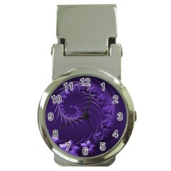 Dark Violet Abstract Flowers Money Clip with Watch by BestCustomGiftsForYou