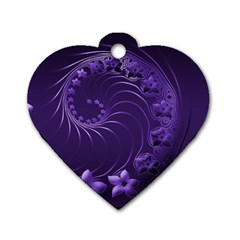 Dark Violet Abstract Flowers Dog Tag Heart (two Sided) by BestCustomGiftsForYou