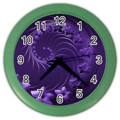 Dark Violet Abstract Flowers Wall Clock (color) by BestCustomGiftsForYou